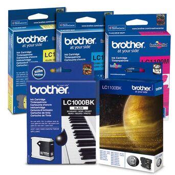 brother Tinteiro Original LC1000 com Tinta Innobella, Amarelo, Azul Cyan, Magenta e Preto, Pack 4, LC-1000VALBP