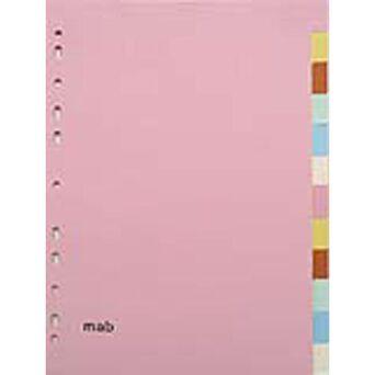 MAB Separador em Branco, Cartão, 12 Secções, A5, Várias Cores