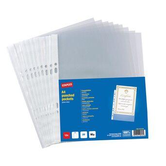 Staples Bolsa Perfurada, A4, 11 Orifícios, Polipropileno, 90 Mícrones, Suave, Transparente
